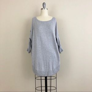 Express Cold Shoulder Lace Up Sleeve Sweater Tunic